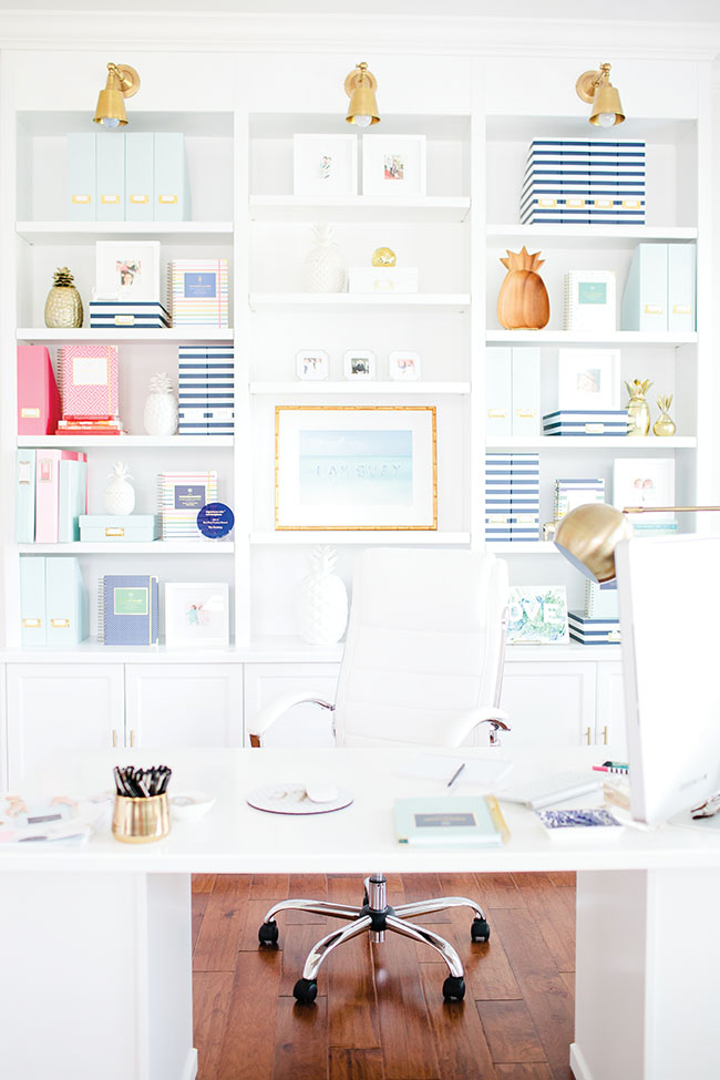 What's the most stylish spot in the house? It can be the home office, seen dressed here with planners and organizational tools from Emily Ley.