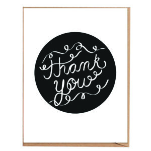 Fawnpaper Co Thank You Black and White Card